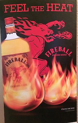 Fireball Whiskey Sign Store Display Cardboard Ad Man Cave Garage Bar Game Room
