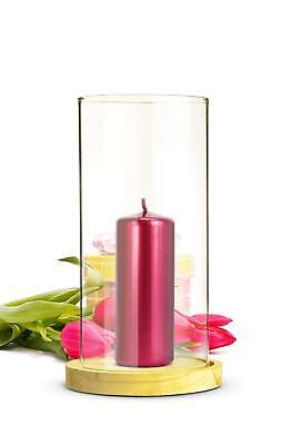 Windlicht Glaszylinder mit Holzteller Kerzenhalter Kerzenständer Laterne
