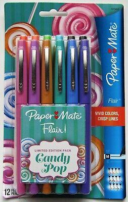 Paper Mate. Flair Felt Tip Pens Medium Point 0.7mm Candy Pop Pack 12 Count