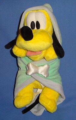 "Disney plush Babies-Pluto dog with hooded blanket 10"" Mickey Mouse best friend"