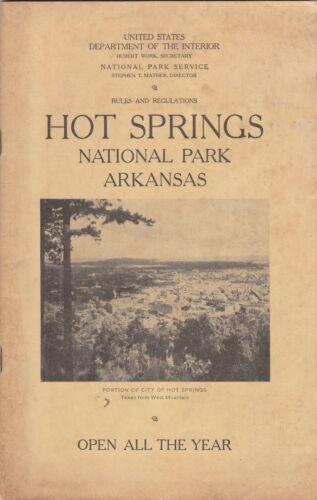 c1926 Hot Springs National Park Rules & Regulations Booklet