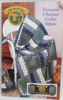 -  Lion Brand 6 Beginner Crochet Afghans-Homespun Patterns