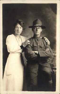 WWI US Military Soldier Uniform Wrist Watch Studio w/ Mother? c1918 RPPC