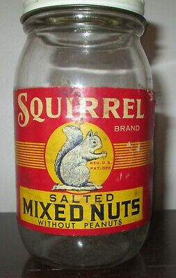 VINTAGE SQUIRREL BRAND SALTED MIXED NUTS JAR WITH LID * 5 1/2 OUNCE * W/ LABEL