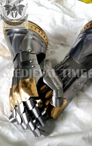 Medieval Knight Gauntlets Functional Armor Gloves Adult Leather Steel Halloween