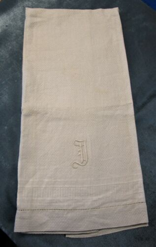 Antique Large Nubby Linen Towel J Monogram Striped Borders Hemstitched