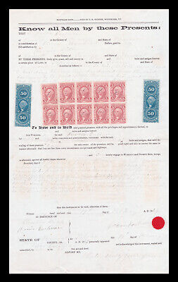 SCOTT #R24C (BLOCK OF 10) AND #R54C (2) ON VERMONT MORTGAGE DEED 1869