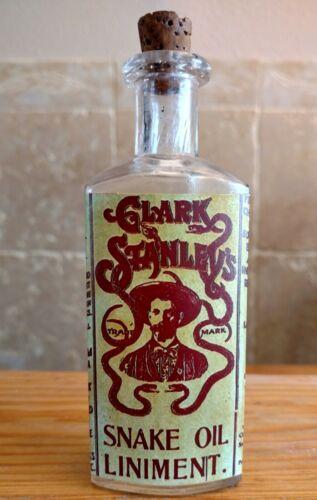 Vintage Medicine Hand Crafted Bottle, Snake Oil Liniment (Clark Stanley