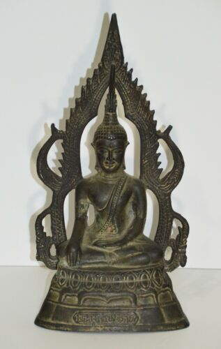 FINE ANTIQUE BRONZE THAI PHITSANULOK CHINNARAT BUDDHA STATUE ~ 19th CENTURY