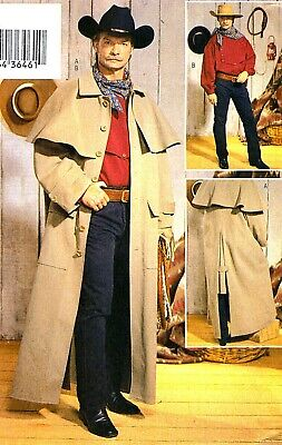 OOP! MEN HISTORIC WESTERN DUSTER COAT COSTUME SEWING PATTERN XS-M Butterick 3830](Costume Duster Coat)