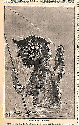 LOUIS WAIN CAT FISHING WITH FISHING ROD CATS ANIMALS ANTIQUE PRINT 1900