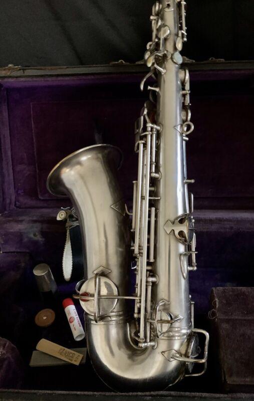 Complete Antique 1914 Clean Conn Silver Low Pitch Alto Saxophone Accessories