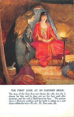 POSTCARD   RELIGIOUS  The  First  Look  at  an  Eastern  Bride