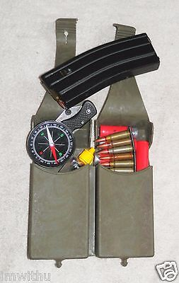 Usgi Dual Magazine Pouch Rubber Od Green Belt Ready Hk91 G3 Two 20Rd Mag Cells