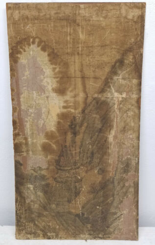 Antique Chinese Scroll Painting 17th Century Silk Landscape Damaged As Is
