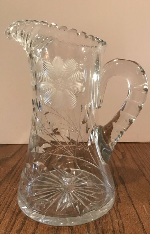 Antique Clear Cut Glass Floral Water Pitcher 19 1/4""