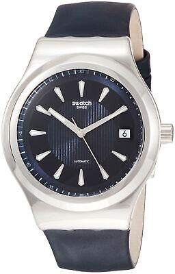 Swatch Men's Sistem Lake YIS420 Silver Leather Quartz Dress Watch