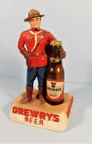Vtg Drewrys Beer Mountie Figurine Bar Sign Statue Chalkware 1940s w Mini Bottle