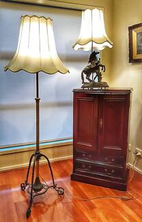 Wooden cabinet and lamps