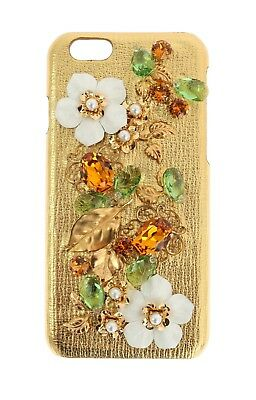 NEW $600 DOLCE & GABBANA Phone Case Cover Gold Leather Floral Crystal iPhone6