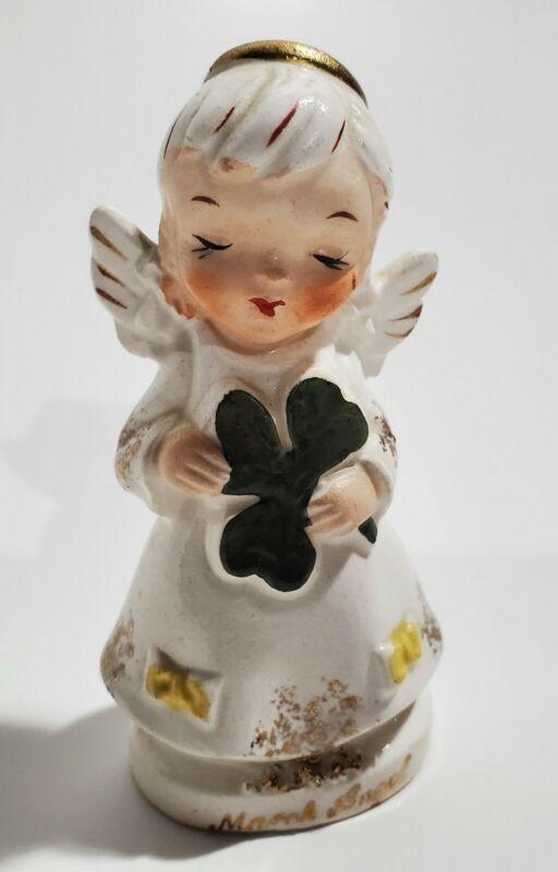 Vtg Artmark March Angel Shaker Figurine Shamrock Japan Girl Elkhart KS Birthday
