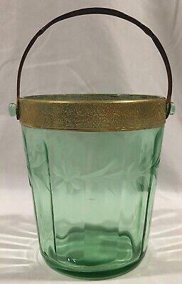 Vintage Depression Green Etched Floral Glass Uranium Metal Handle Ice Bucket Green Floral Glass