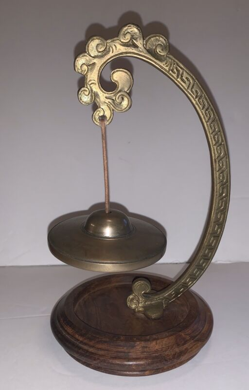 Vintage Chinese Buddist Hanging Cymbal Chime Bell On Wooden Pedestal