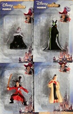 4 Disney VILLAINS Figure Set Cruella Maleficent Captain Hook Ursula Figurines