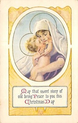 Christmas Day c1910 Embossed Postcard Mary With Christ Child ()