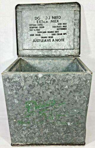Vintage Galvanized Metal Dairy Bottle Milk Cooler Box