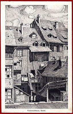 Ansichtskarte Basel Falknerstrasse, Postkarte rückseitig stark fleckig