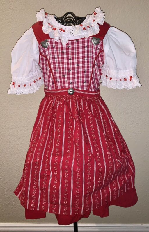 Sz 3t/98 Genuine Isar-Trachten 3 Pc Dirndl German Red Christmas Dress Top Apron