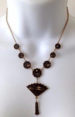 Vintage 1940's DAMASCENE Japanese Black Fan Gold Tone Pendant Necklace
