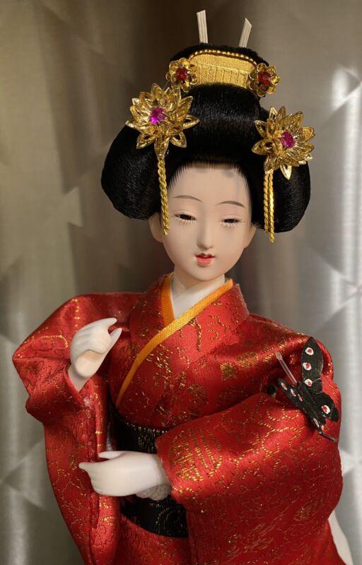 "Japanese Red Kimono GEISHA Oriental Doll 12"""