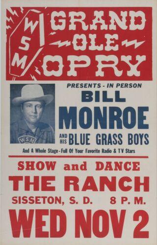 1952 Bill Monroe Grand Ole Opry concert poster Vintage Original