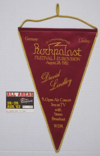 DAVID LINDLEY Rockpalast Eurovision 1982 Concert PROMO Silk Banner WDR Germany