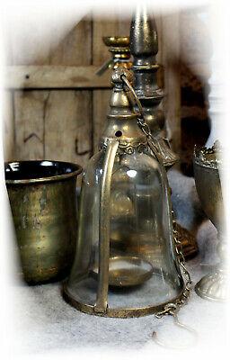 LATERNE ANTIK ORIENT STIL LANDHAUSSTIL METALL GLAS SHABBY SILBER WINDLICHT NEU