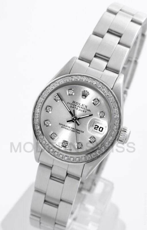 Rolex Ladies Datejust Steel Silver Diamond Dial & Bezel Oyster Perpetual Model