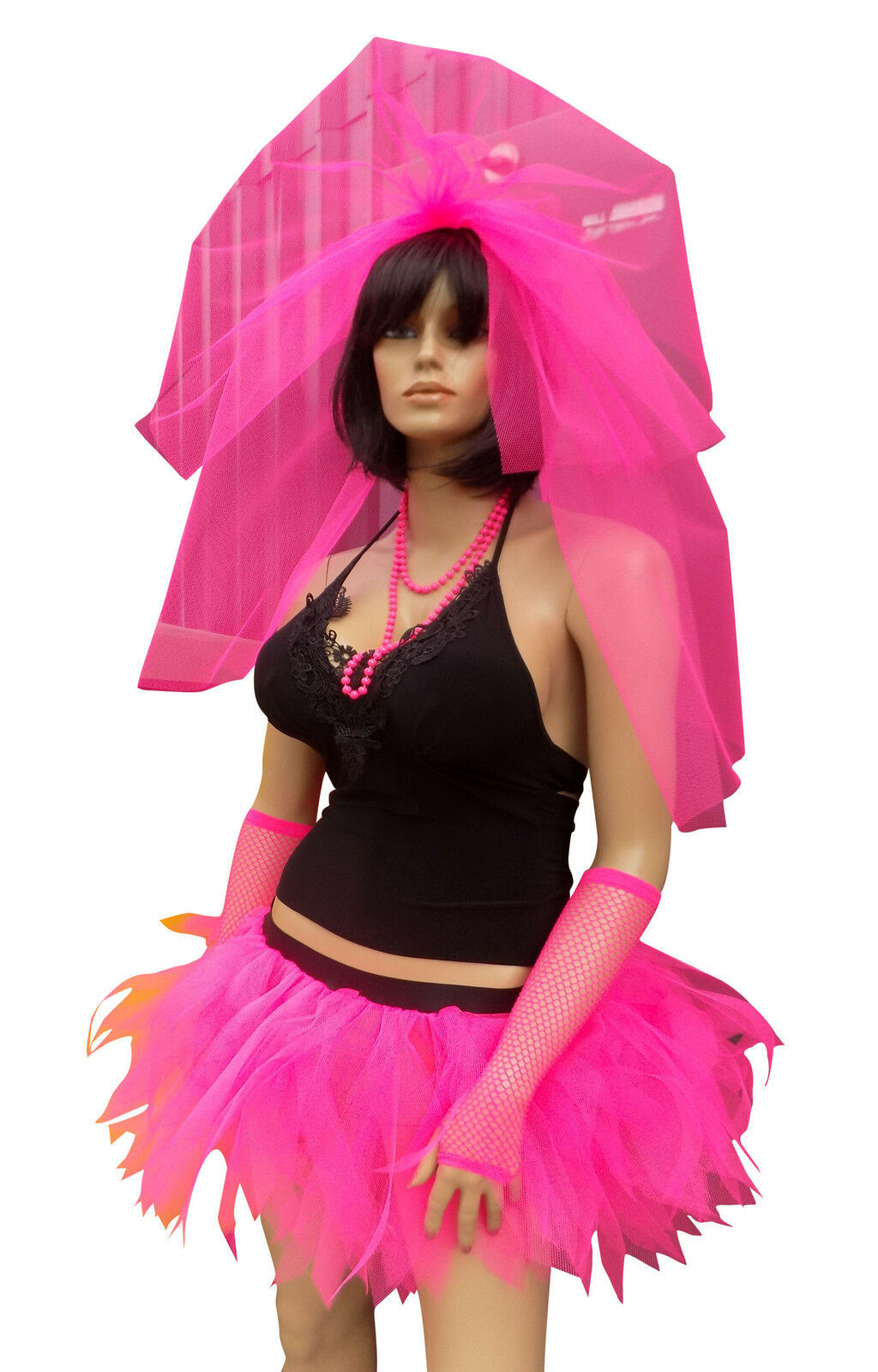 Neon Tutu Hen Party Veil 80/'s Bride Stag Night Party Costume Net Tie On Flo Hair