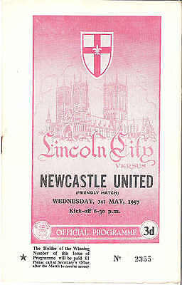LINCOLN CITY v NEWCASTLE UNITED    Friendly  1st May  1956/7