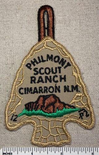 VTG PHILMONT BOY SCOUT RANCH PATCH Pocket Dangle CAMP ARROWHEAD Green Gauze BK