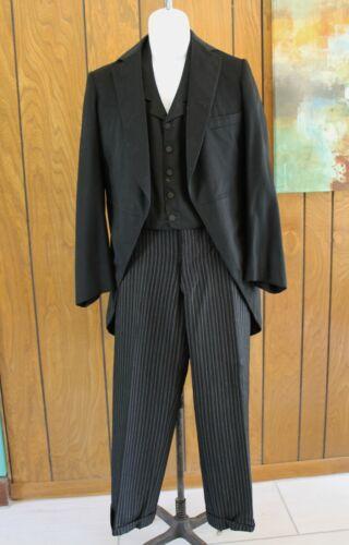 VTG Edwardian 3 Pc Formal Suit Cutaway Morning Coat Vest Striped Pants Mens S