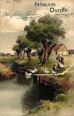 Ostern, Frau, Gänse, Landschaft, um 1910/20
