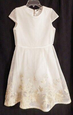 Girls White David Charles Mesh Dress w/ Gold Flowers & Birds Decoration Size 16