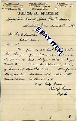 1887 Huntsville Texas Penitentiary THOMAS GOREE Superintendent PRISON LETTERHEAD