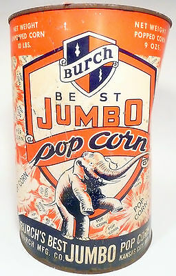 1950s Burch Popcorn Machine 10 Lb Empty Popcorn Can 8 - Export Pa Theatre