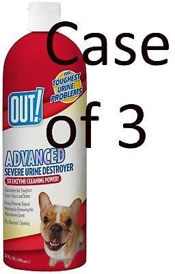 OUT! Advanced Severe Pet Urine Destroyer, Cat, Dog Stain & Odor 32 Oz (3 Packs)