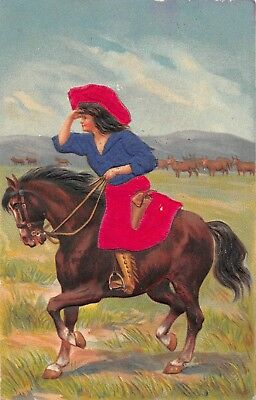 AK Litho. Prägekarte Frau mit Pferd und Kleid, Hut aus Echt Stoff Samt vor 1945