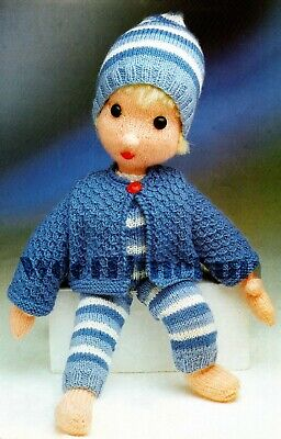 Vintage Knitting Pattern To Make Toy/Little Boy Blue/Doll With Clothes. 4 ply.