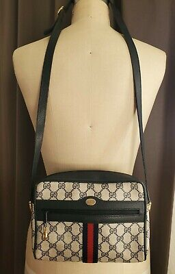 Gucci Ophidia Web Stripe Navy GG Supreme Canvas Leather Cross Body Hand Bag